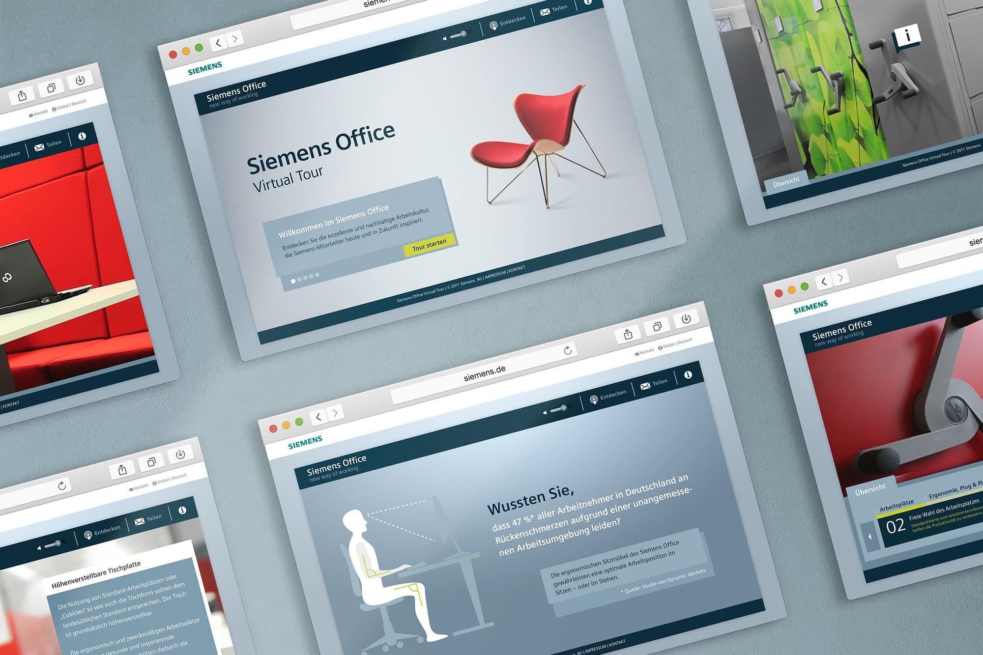 screen design virtual tour für siemens