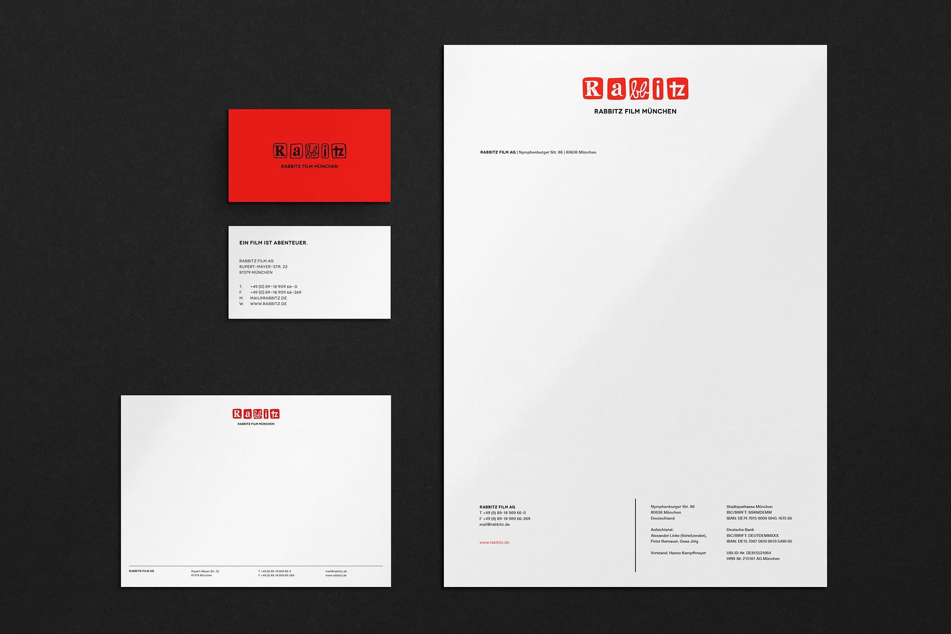 corporate design visitenkarten Briefpapier für rabbitz